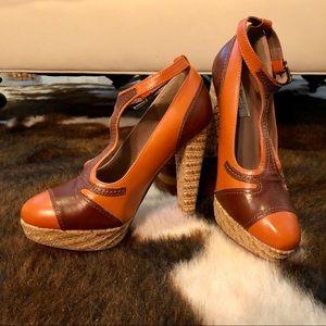 👠Two Lips/ModCloth Raffia & Leather Heels